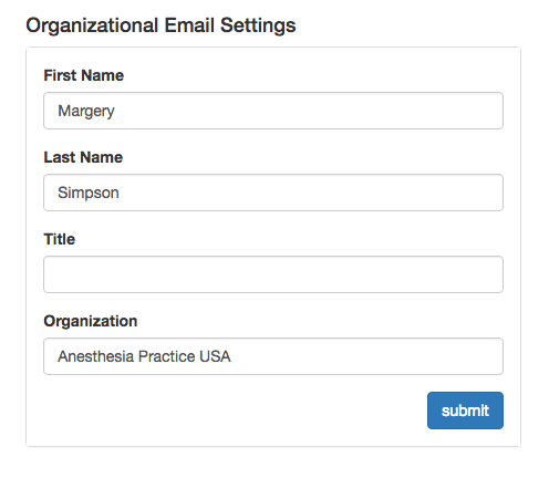 Patient Survey Email Settings